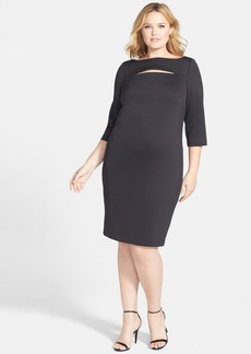 Calvin Klein Slit Bodice Scuba Knit Sheath Dress (Plus Size)