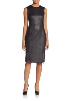 Calvin Klein Snake-Embossed Faux Leather Sheath Dress