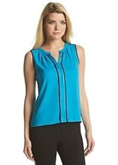Calvin Klein Splitneck Blouse With Piping