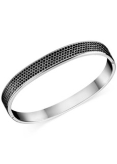 Calvin Klein Stainless Steel Black Swarovski Crystal Bangle Bracelet
