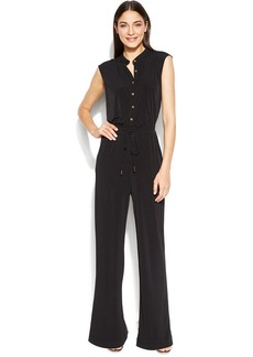 Calvin Klein Straight-Leg Button-Front Jumpsuit