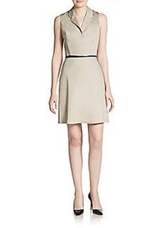 Calvin Klein Stretch Cotton Belted Dress