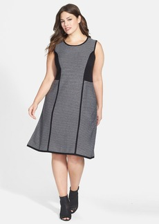 Calvin Klein Stripe Fit & Flare Sweater Dress (Plus Size)