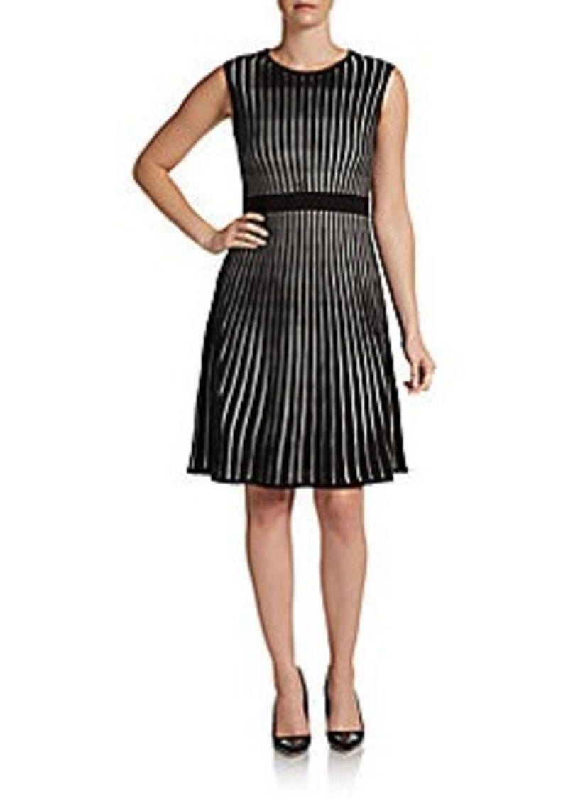 Calvin Klein Striped A-Line Sweater Dress