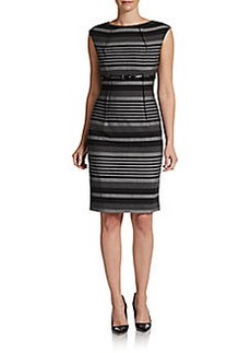 Calvin Klein Striped Belted Sheath Dress
