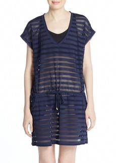 Calvin Klein Striped Crochet Coverup