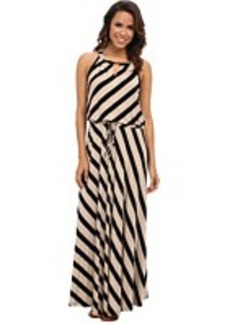 Calvin Klein Striped Keyhole Maxi Dress