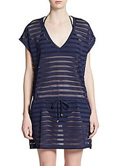 Calvin Klein Striped Lace-Trim Coverup