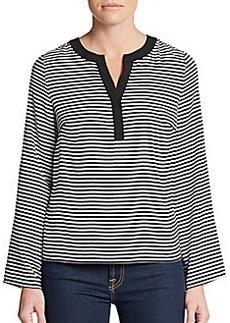 Calvin Klein Striped Roll-Tab Sleeve Top