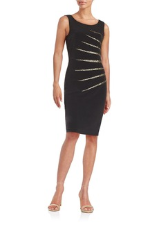 CALVIN KLEIN Striped Sequin Sheath Dress