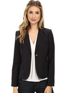 Calvin Klein Striped Two-Button Jacket with Zipper Detail