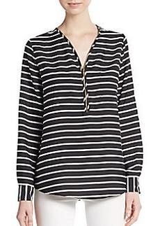 Calvin Klein Striped Zip-Placket Top