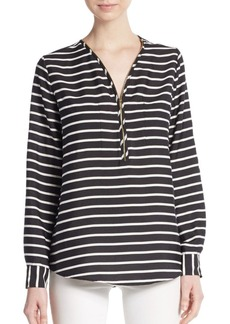 Calvin Klein Striped Zip-Placket Top