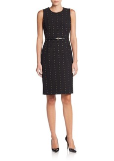 Calvin Klein Studded Belted Sheath Dress