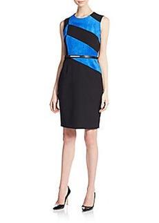 Calvin Klein Sueded-Stripe Belted Sheath Dress