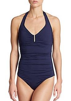 Calvin Klein Swim Ruched Halter Maillot Swimsuit