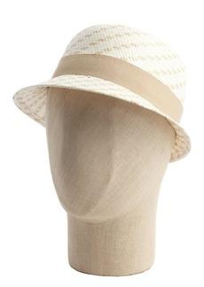 Calvin Klein tan and cream woven straw cloche