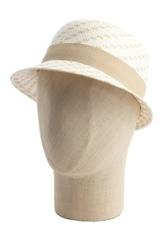 Calvin Klein tan and cream woven straw cloche