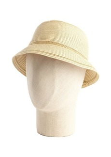 Calvin Klein tan straw and chain cloche