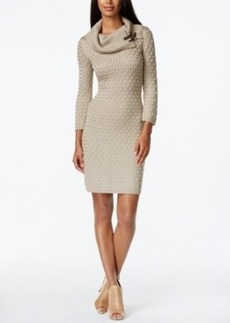 Calvin Klein Textured Cowl-Neck Sweater Dress