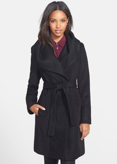Calvin Klein Textured Panel Wool Blend Wrap Coat