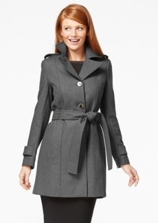 Calvin Klein Three-Button Belted Wool Trench Coat