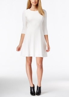 Calvin Klein Three-Quarter Sleeve Flare Dress