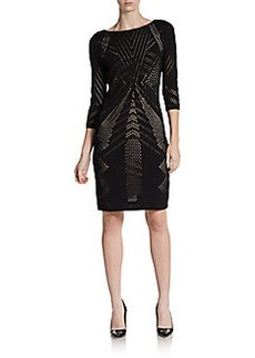 Calvin Klein Three-Quarter Sleeve Pointelle Dress