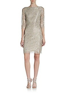 Calvin Klein Three-Quarter Sleeve Shimmer Lace Dress