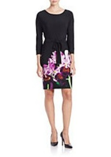 CALVIN KLEIN Tie-Waist Floral-Print Sheath Dress