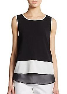 Calvin Klein Tiered Sleeveless Colorblock Top