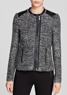 Calvin Klein Tweed Faux Leather Trim Jacket - Bloomingdale's Exclusive