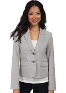 Calvin Klein Two-Button Houndstooth Jacket with Front Zipper Detail