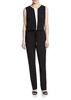 Calvin Klein Two-Tone Crepe Jumpsuit