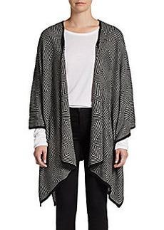 Calvin Klein Two-Tone Geometric Knit Ruana
