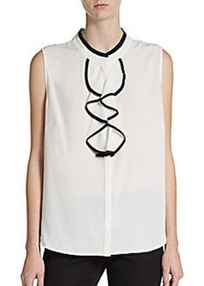 Calvin Klein Two-Tone Ruffle Front Top