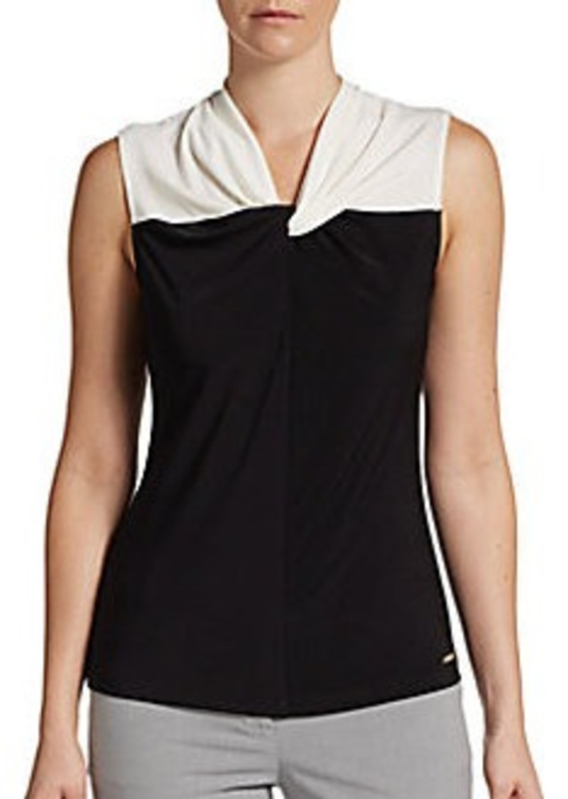 Calvin Klein Two-Tone Twist-Neck Top