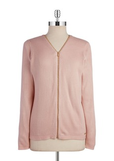 CALVIN KLEIN V Neck Zip Up Cardigan