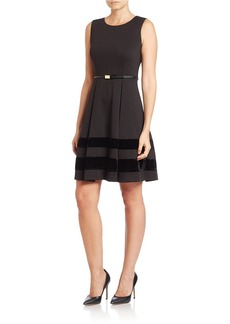 CALVIN KLEIN Velvet Stripe Fit-and-Flare Dress