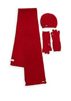 Calvin Klein Waffle Knit Hat, Scarf & Tech Gloves Set
