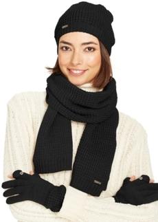 Calvin Klein Waffle Knit Hat, Texting Gloves & Scarf Set