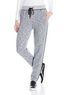Calvin Klein Women's 2 Tone Melange Pant, Black/White, Large
