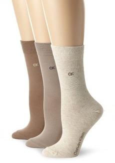 Calvin Klein Women's 3 Pack Flat Rib Crew Socks