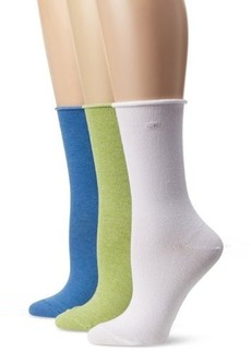 Calvin Klein Women's 3 Pack Roll Top Sock