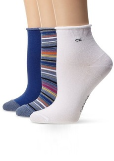 Calvin Klein Women's 3 Pack Stripe Roll Top Sock