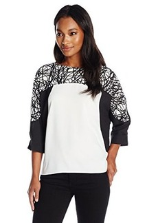 Calvin Klein Women's 3 Quarter Sleeve Print Block Top, Static, Small