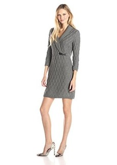 Calvin Klein Women's 3/4 Sleeve Side Buckle Sweater Dress, Tin, Medium