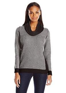 Calvin Klein Women's Basket Weave Sweater, Black/White, X-Small