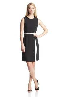 Calvin Klein Women's Belted Two-Tone Dress