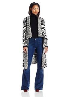 Calvin Klein Women's Birdseye Sweater Jacket, Black/White, Large
